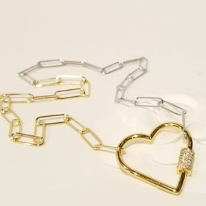 Jewelry - 2 Tone Paperclip Pave CZ Heart Carabiner Necklace